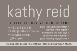 Kathy Reid's NFC business card